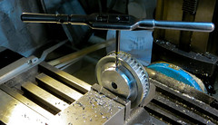 Tapping the Boss of a Timing Belt Toothed Wheel (tudedude) Tags: tudedude workshop engineer model lathe chuck precision engineering machine metal tool metalworking handcraft homeworkshop mechanical bench modelengineer workingwithmetal dorset gbr