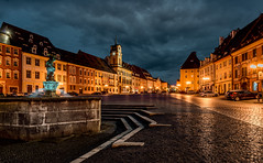 Illuminated Main Square of Cheb (Bernd Thaller) Tags: cheb eger czechrepublic tschechoslowakei city townsquare square street building architecture oldtown outdoor night nightshot bluehour illumination yellow blue