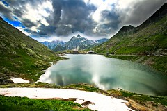 Grand San Bernard Pass 2,469m - Italy / Switzerland (Lior. L) Tags: grandsanbernardpass2469mitalyswitzerland grandsanbernardpass italy switzerland travel mountains lake lago nature scenery view reflection clouds ice wideangle