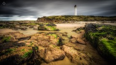 Beach Beacon (Augmented Reality Images (Getty Contributor)) Tags: beach canon clouds coastline covesea landscape leefilters lighthouse lossiemouth morayshire rocks sand scotland seaweed water