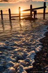 Good morning Wales! (leecaine) Tags: sea sunrise orange warm groyne wales uk tide rays beach seaside