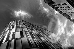 At Home in the Clouds (darren.cowley) Tags: highcontrast abstract cloudformations reflection dramatic structures blackandwhite monochrome trinity nottingham darrencowley architecture urbanlandscape