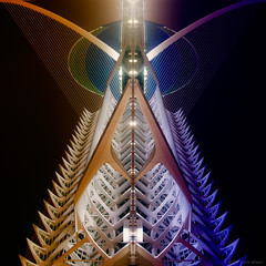 Behind an angel's disguise, an insect preys... (OR_U) Tags: 2016 oru valencia spain abstract mirrored mirror coloured edited locust angel lhemisfric ciutatdelesartsilescinc night machinehead sliderssunday hss square squareformat ciutatdelesartsilescincies