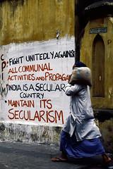 Calcutta street scene (Hubert Streng) Tags: calcutta kolkata secularism politics slogan grafitty india