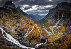 The Trolls' Path (Ornaim) Tags: troll trollstigen mountain road famous norway norge norvege trollveggen romsdal landscape nature orange yellow summer vacation travel wide angle panoramic pano nikon d610 lee filter 1635 gnd grad hard 06 grey cloud waterfall water microsoft ice