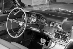 Thunderbirds Are Go! (Adam Curran) Tags: saintjohn saint john newbrunswick new brunswick nbphoto nikond3300 d3300 nikkor bw blackandwhite black white car vintage thunderbird veichle interior dashboard