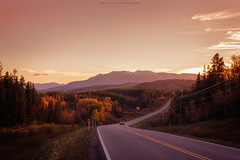 (patrickgkelly) Tags: fall autumn sunset mountains highway road alberta canada mir1b