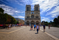 Notre Dame Cathedral in Paris, France (` Toshio ') Tags: toshio paris france notredame notredamedeparis notredamecathedral cathedral church catholic europe european europeanunion people fujixe2 xe2 clouds