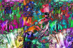 Garden Trip (abstractartangel77) Tags: triptych garden chair abstract photomanipulation