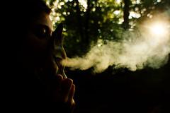 Otherside (Lara Gerken) Tags: park trees light sunlight girl cat eyes forrest bokeh smoke side