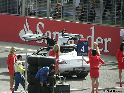 The pace car at the front of the grid for the GP2 Sprint Race at the 2011 British Grand Prix at Silverstone