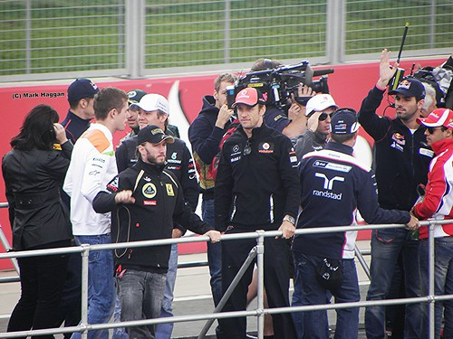 Jenson Button at the drivers' parade at the 2011 British Grand Prix