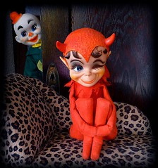 Can't sleep.....clowns will eat me.... (DollyBeMine) Tags: toy scary stuffed doll clown creepy plush devil scared frightening frightened kamar dikkens kneehugger toysundaybringontheclowns