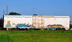 REESON, HELL, TIBET. (NTHESTREETS) Tags: streetart art train graffiti orlando florida graf hell railway trains tibet vandalism boxes spraypaint boxcar graff aerosol rp freight boxcars vandals freights reeson regularperson