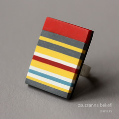 Ring with red, grey, blue, white and yellow stripes (zsbekefi) Tags: blue red white yellow modern grey contemporary jewelry ring jewellery polymerclay