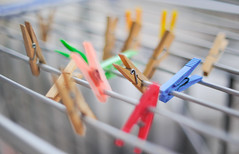 Clothespins (Explored) (The Aslier) Tags: colors dof desenfoque 12 clothespin creamy f12 pinzas shalow