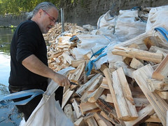 Barnaby Evans inspects the Roman firewood.