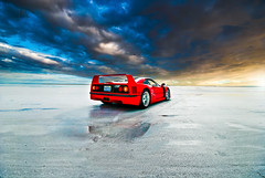 Ferrari F40 | Eye of the Storm (Folk|Photography) Tags: sky storm texture clouds sunrise photography utah angle folk wide salt dramatic sigma automotive ferrari professional flats exotic gil 1020mm supercar bonneville f40 folk|photography