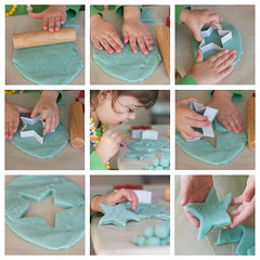 Roll, and pat it, and mark it with a H... (Barbara Taeger (formerly Pianogram)) Tags: color fun 50mm star hands nikon child dough crafts clay create storyboard playdough pianogram