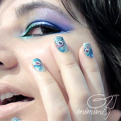 the frequent peacock (gimimimi) Tags: selfportrait makeup peacock peacocknails