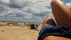 Beach Daze (Panuco West) Tags: summer beach water girl canon point rebel xt sand day legs cloudy cove tan maryland overcast 2012 torrie