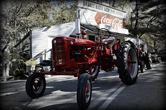 RabbitHashTractor (sellers8847) Tags: old autumn red bw tractor history fall farm kentucky country wheels tires fade farmer ohioriver farmall mccormick rabbithash