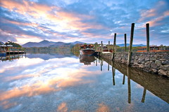 Derwentwater Reflections (PeterYoung1) Tags: england clouds reflections landscape boat twilight scenic derwentwater keswick atmospheric flickrstruereflection3 flickrstruereflectionlevel1