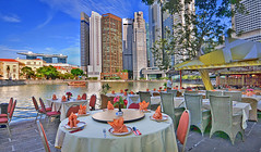Spectacular view of Singapore's prime district at Boat Quay while you dine... (williamcho) Tags: singapore fb financialdistrict dining banks cityview singaporeriver asiancivilizationsmuseum marinabaysands boatquat ©williamcho2012