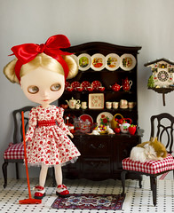 the lazy cat (JennWrenn) Tags: china white black set cat doll chairs tea mice lazy blythe rement dresser magdalena pedigree sindy cuckooclock matryoshkamaiden