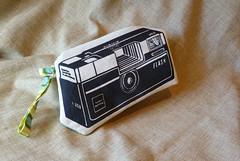 Black on White Camera (made by mauk) Tags: camera fun design screenprint sewing craft funky wristlet madebymauk