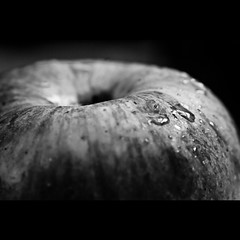 359/365. Apple Monochrome. (Anant N S (www.thelensor.tumblr.com)) Tags: red blackandwhite bw india color macro green apple monochrome yellow horizontal closeup fruit photography blackwhite dof pov naturallight fresh nikkor waterdrops pune 55200 diopter aundh project365 freshapple nikond3000 waterdropsonapple lensor anantns thelensor anantnathsharma