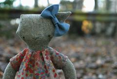 Sophie the zombie rag-cat (Kitty Vane) Tags: dress zombie bow plushie softtoy ragcat thelivingdead ragpets braaaainsbraaaainsbaaaaaatting