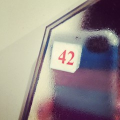 31/10.2012 - the answer to life, the universe and everything, right there on my bathroom mirror (julochka) Tags: square squareformat hitchhikersguidetothegalaxy amaro iphoneography instagramapp uploaded:by=instagram postcardtoblogcamp 366the2012edition
