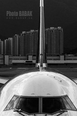 Boeing 747 (BABAK photography) Tags: travel airplane photography hongkong blackwhite airport hong kong babak boeing windshield boeing747 747 spotting planespotting aviationphoto spottinghongkong