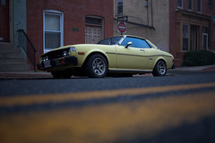 (patrickjoust) Tags: auto street city urban usa slr classic car yellow digital america 35mm canon lens eos us reflex md focus automobile stripes united hill north patrick maryland baltimore full butcher level single frame 5d parked states stm 40mm dslr joust f28 ef butchers estados unidos patrickjoust