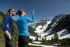 Hikers at Cascade Pass (Deby Dixon) Tags: people woman snow man tourism nature landscape washington nationalpark travels hiking hikers viewpoint 2012 northcascadesnationalpark cascadepass debydixonphotography