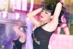 The Bath (Arno Barcelona) Tags: barcelona red españa black dark spain model glamour bath pretty dancer tanktop tijuana lipstick gogo brunette baño danseur danseuse
