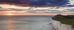 "Belle Tout Lighthouse sunset ""pano"" (JamboEastbourne) Tags: park sea england cliff lighthouse sisters downs sussex chalk head south country east national seven belle beachy tout"