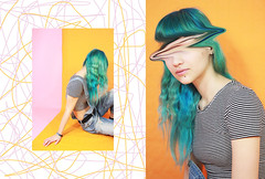 Chantal (Pink and orange) (MitikaFe) Tags: model young chantal colors pink orange bluehair girl photography photoshoot youth creative artistic fashion stripes skinny cute