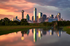 [Explored] - Dallas Fire and Ice Sunset (denny.yang) Tags: none dallas fire ice sunset skyline trinity river long exposure reflection sony a7rii a7rm2 2470gm denny yang dennyyang gmaster