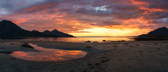 sunset glow pano (John A.Hemmingsen) Tags: sky sunset beach grtfjord clouds landscape mountains troms troms nordnorge evening