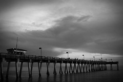 Stormy Pier (Kendall Seitz) Tags: pier water ocean sea bridge bw blackandwhite clouds paysage flickr outside contrast trip beach sky night summer nuvole paesaggio happy digital agua mer wasser naturaleza noiretblanc natura paisaje bay florida mare natur nature trail spring mar cielo classic waves new