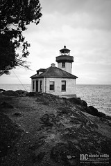 Lime Kiln Lighthouse (ginkgoandiris) Tags: lime kiln lighthouse limekilnstatepark sanjuanisland harostrait straitofjuandefuca unitedstates canada usa us pacificnorthwest pacific ocean bay water sea beach light seashore shoreline view nature waves clouds cloudy monument building old vintage antique ancient outdoor blackwhite photographic photo photography pic picture instagram vacation flickr art artistic texture landscape scenic scenery window tree rock rocky boulder washington pnw northwest northwestern pictorial
