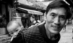 Who is that grandpa? (Derekwin) Tags: baby curious grandfather carriedback china guiyang oldtown