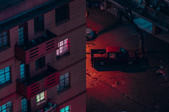 Untitled (elsableda) Tags: johannesburg joburg south africa night midnight long exposure nightscape dreamy colors lights light cityscape pink neon shadow car parking building city urban architecture windows