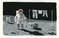 Home swee thome (Daniel Spacek) Tags: gouache astronaut moon laundry apollo painting dailypainting