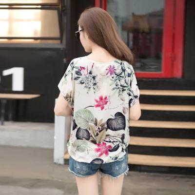 2016 neue Baumwolle Blusen kurzarm T-shirt Frau Frühjahr/Sommer Drucke lose Pullover große Codebasis von Flachs shirt