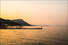 End of the Line (scotty NEX harper) Tags: sony nex7 corfu greece vacation holiday resort beach sea pier hills horizon calm sunset dusk water