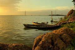 ~golden moments~ (~~ASIF~~) Tags: canon60d outdoor sea river boat emty serene water color sky golden moments waiting village bangladesh