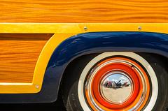 Woodgrain & dogdish (GmanViz) Tags: gmanviz color car automobile detail goodguysppgnationals nikon d7000 1951 ford stationwagon woodie wheel tire fender woodgrain